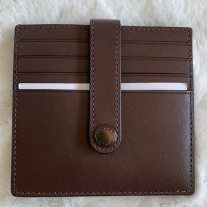 NWT Coach dark brown snap-button card case